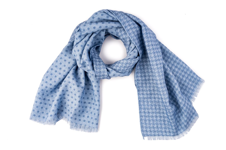 sciarpa artigianale lana seta azzurra