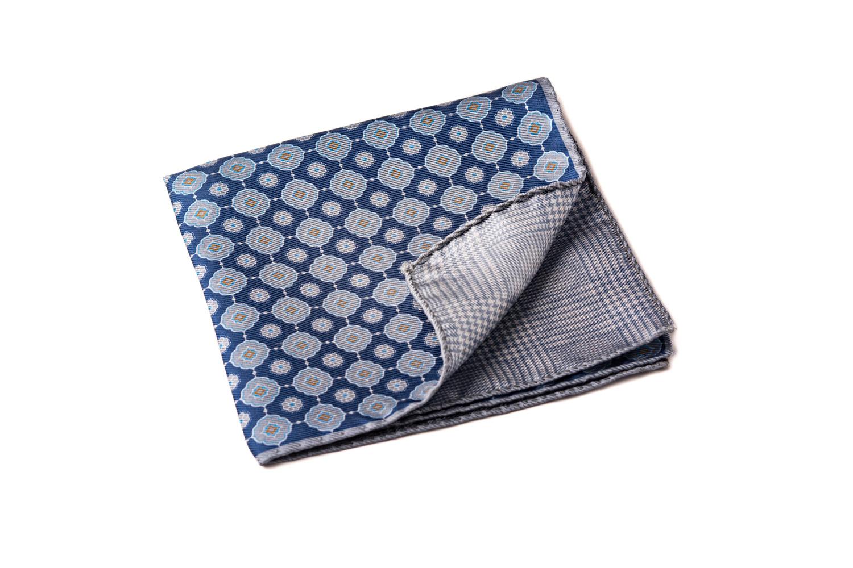 pochette artigianale seta blu grigio