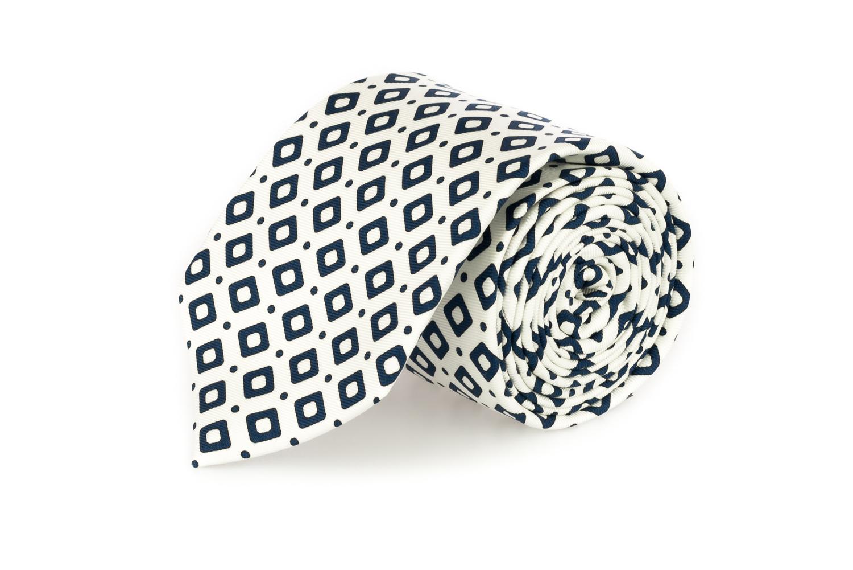 cravatte sette pieghe primavera estate 2020 bianco rombi blu