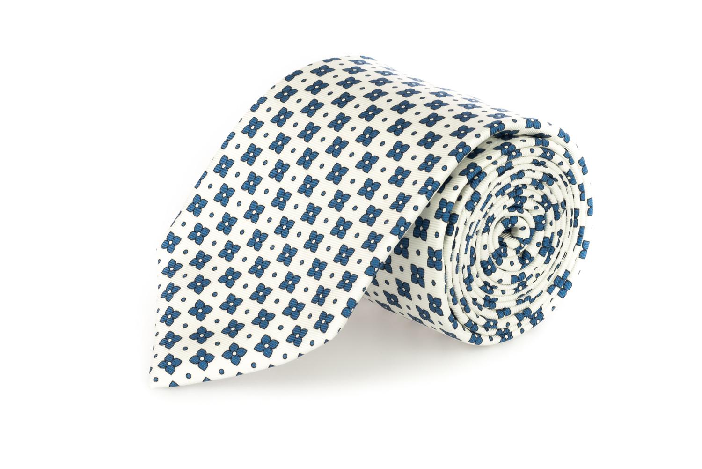 cravatte sette pieghe primavera estate 2020 bianco fiori blu